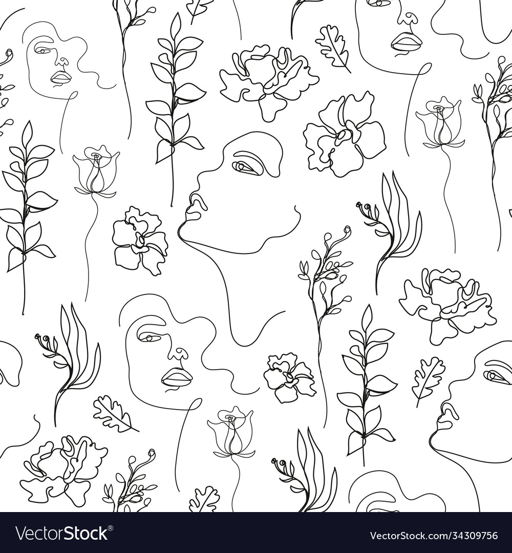 Seamless pattern continuous line art with
