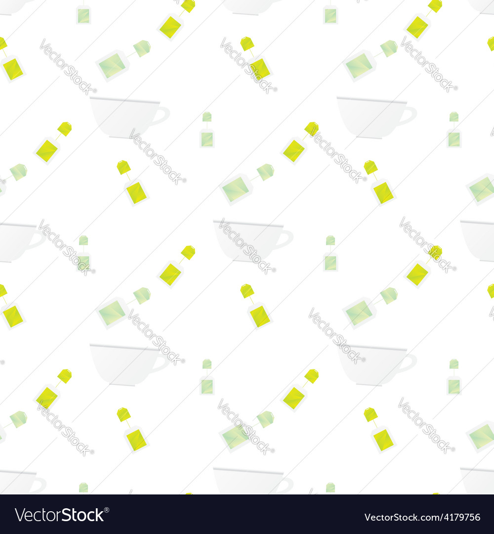 Seamless pattern with cup and teabag on white back vector image