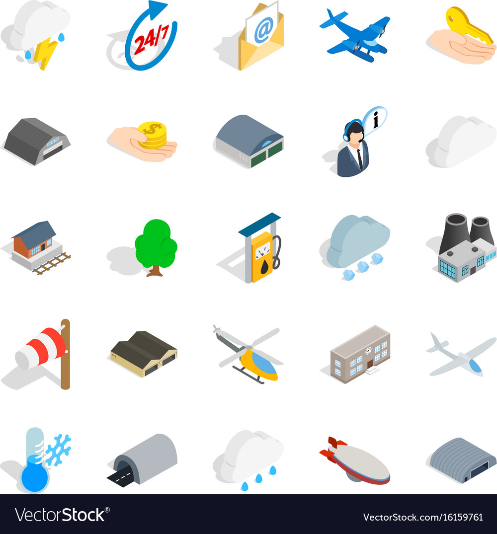 Airliner flight icons set isometric style