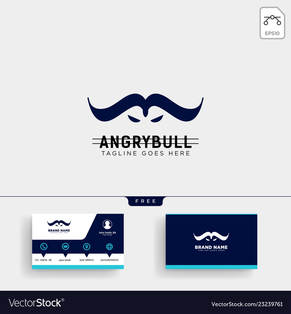Angry bull logo template and business card design