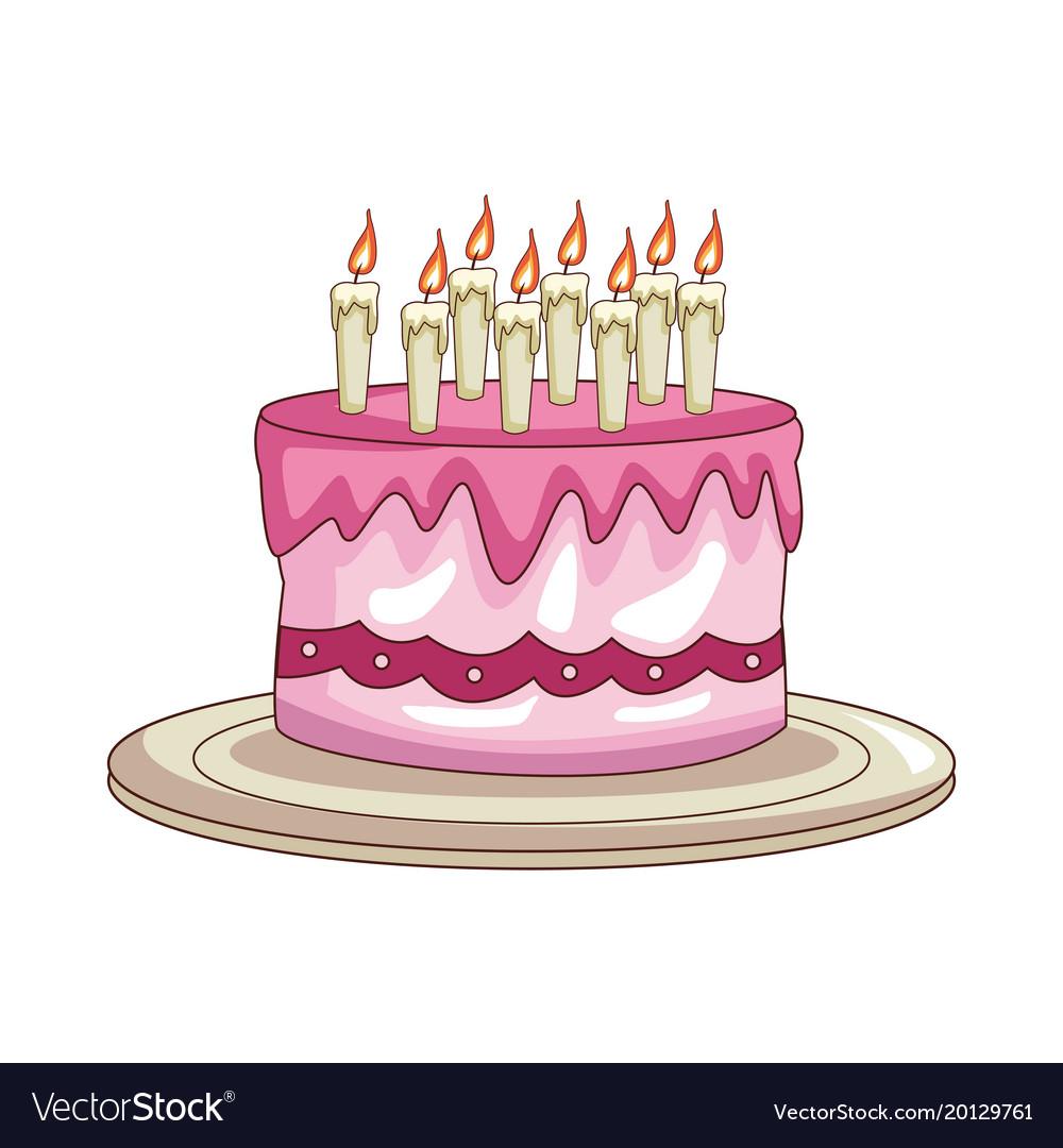 Prime Birthday Cake Cartoon Royalty Free Vector Image Funny Birthday Cards Online Fluifree Goldxyz