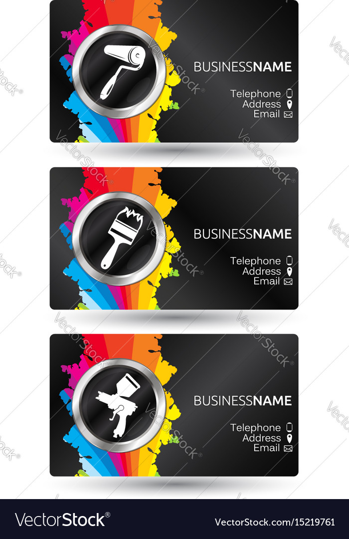 Business card painting set royalty free vector image business card painting set vector image colourmoves