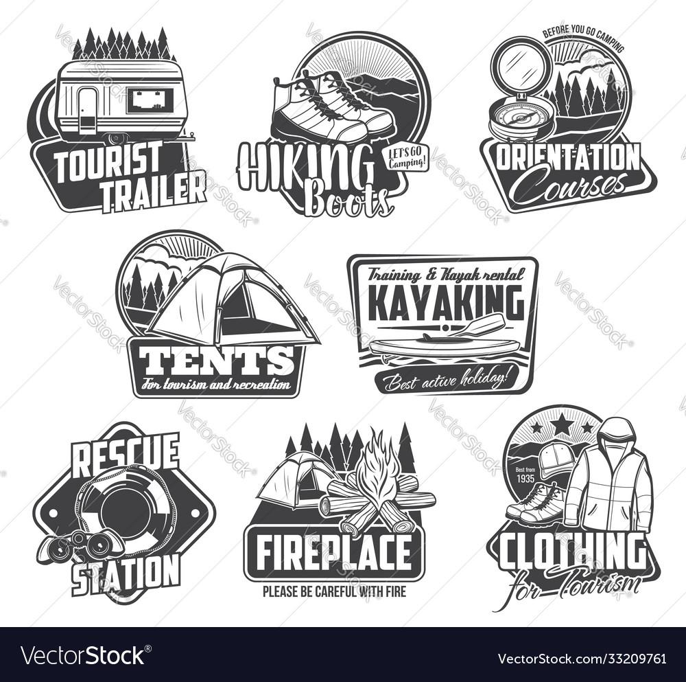 Camping hiking kayaking icons travel tourism