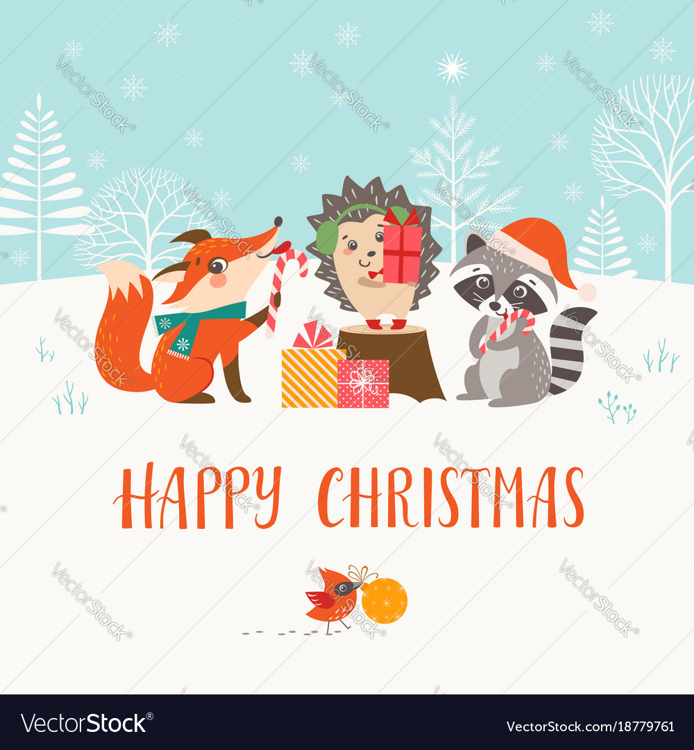 Christmas woodland friends in winter forest vector image