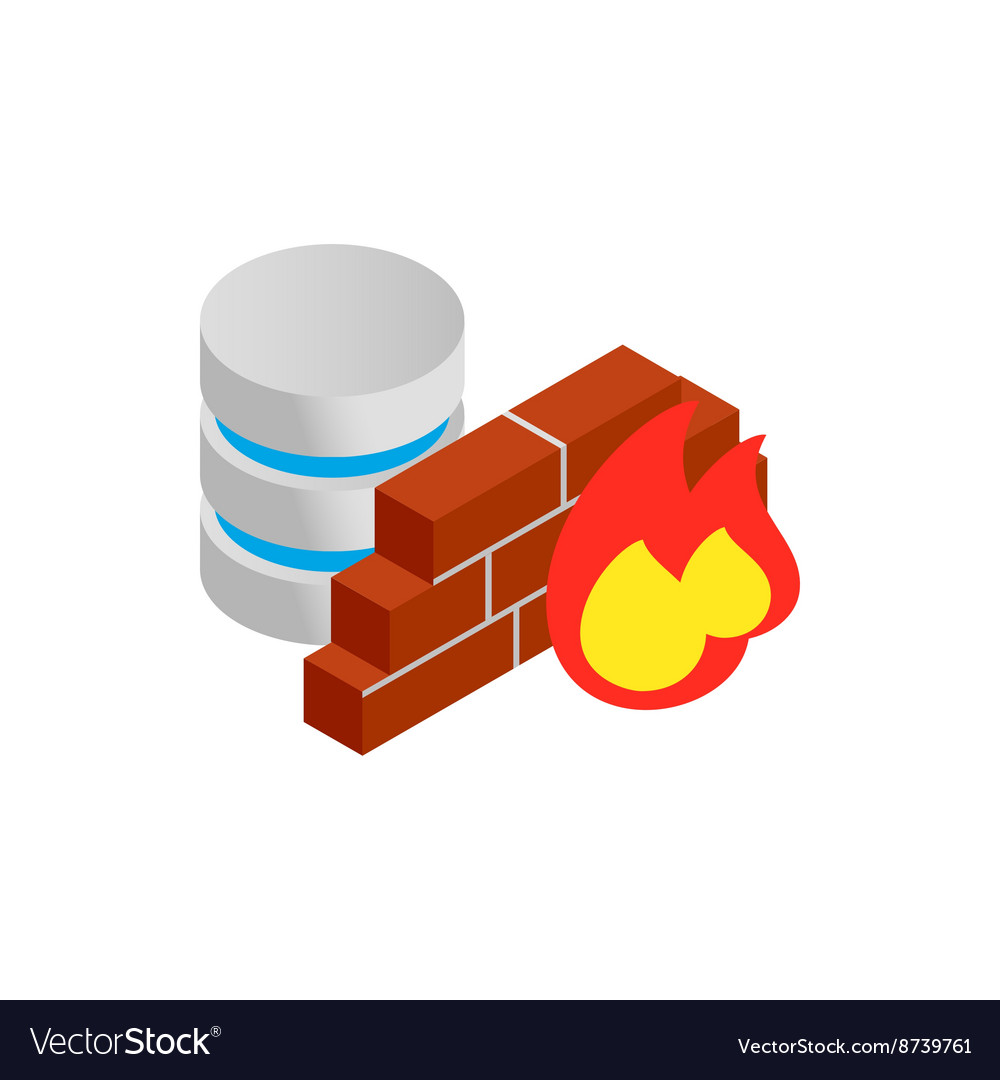 Database and firewall with chart icon