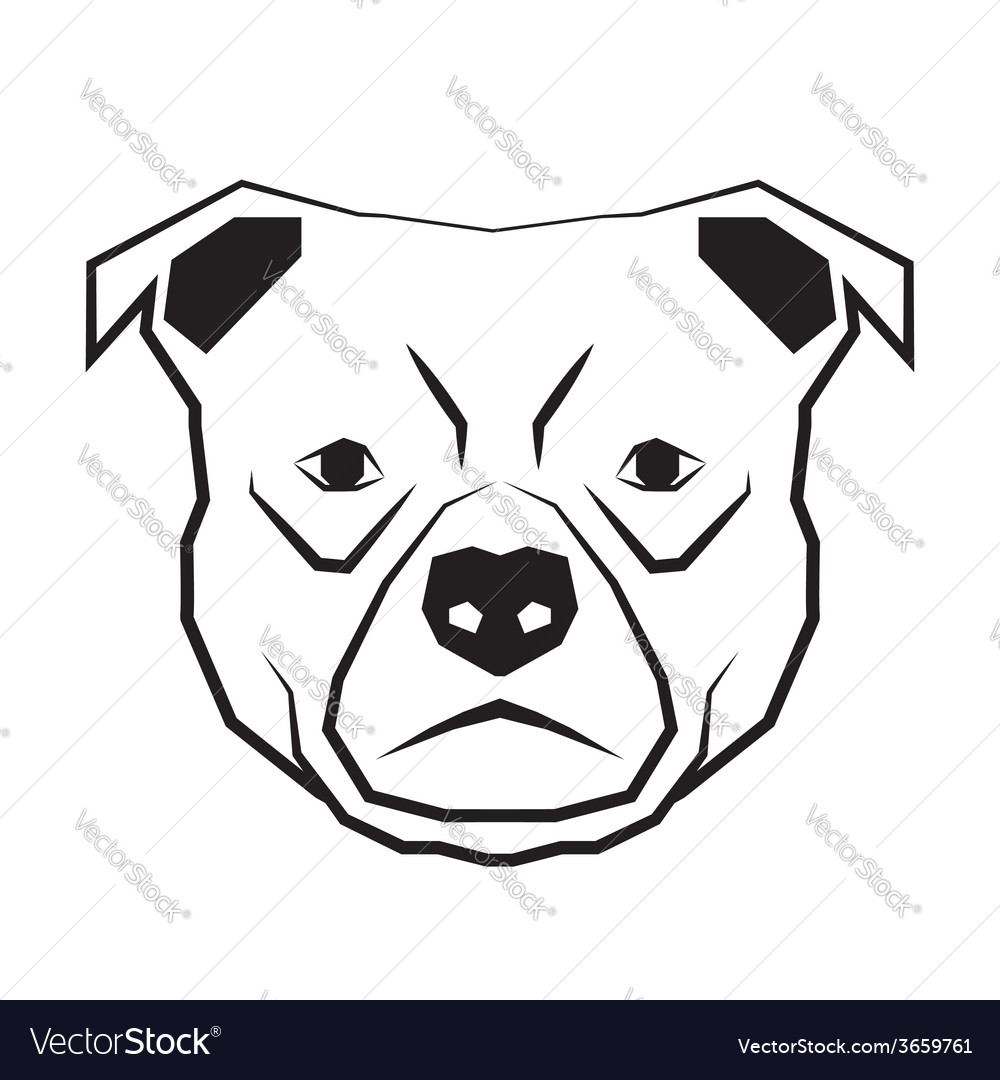 Dog face black and white drawing contour