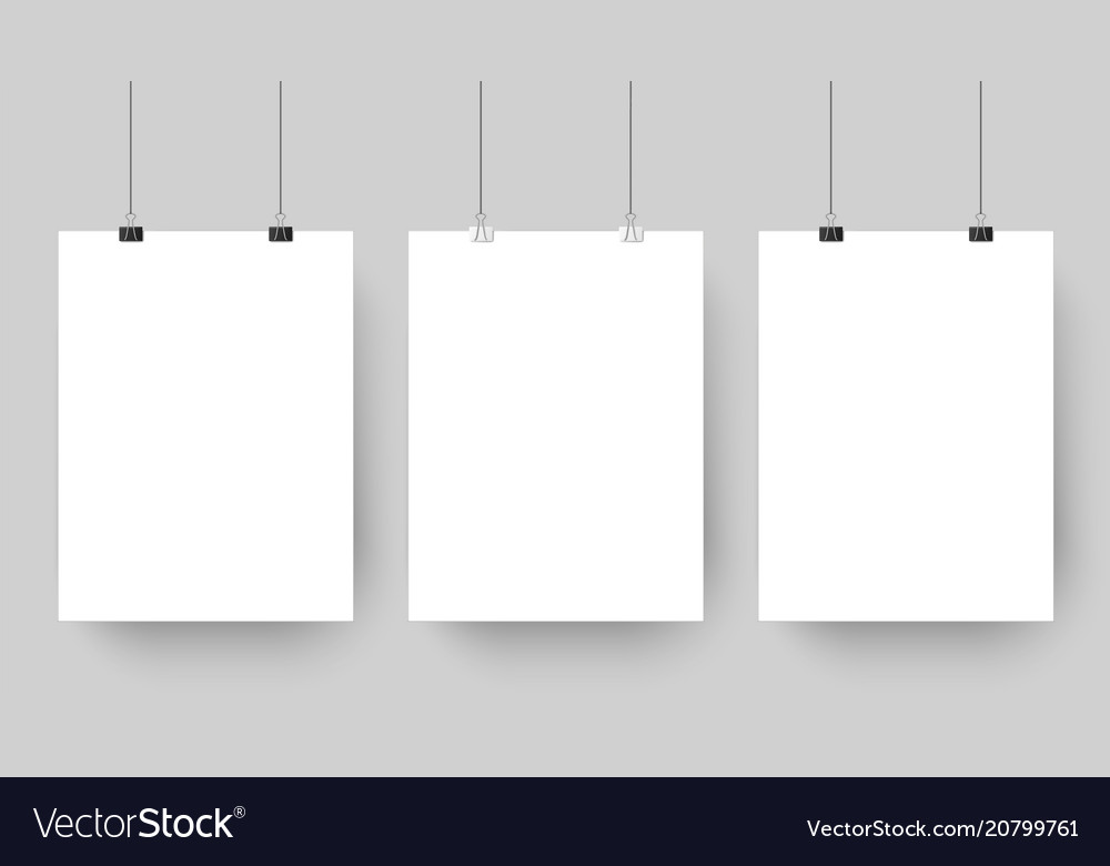 Empty affiche mockup hanging on paper clips white vector image