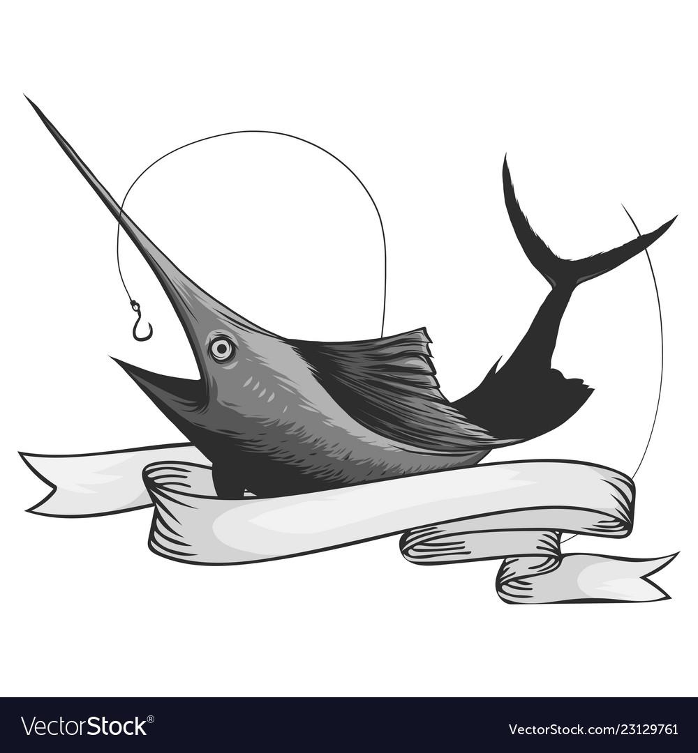 Marlin fish logo sword fishing emblem for sport