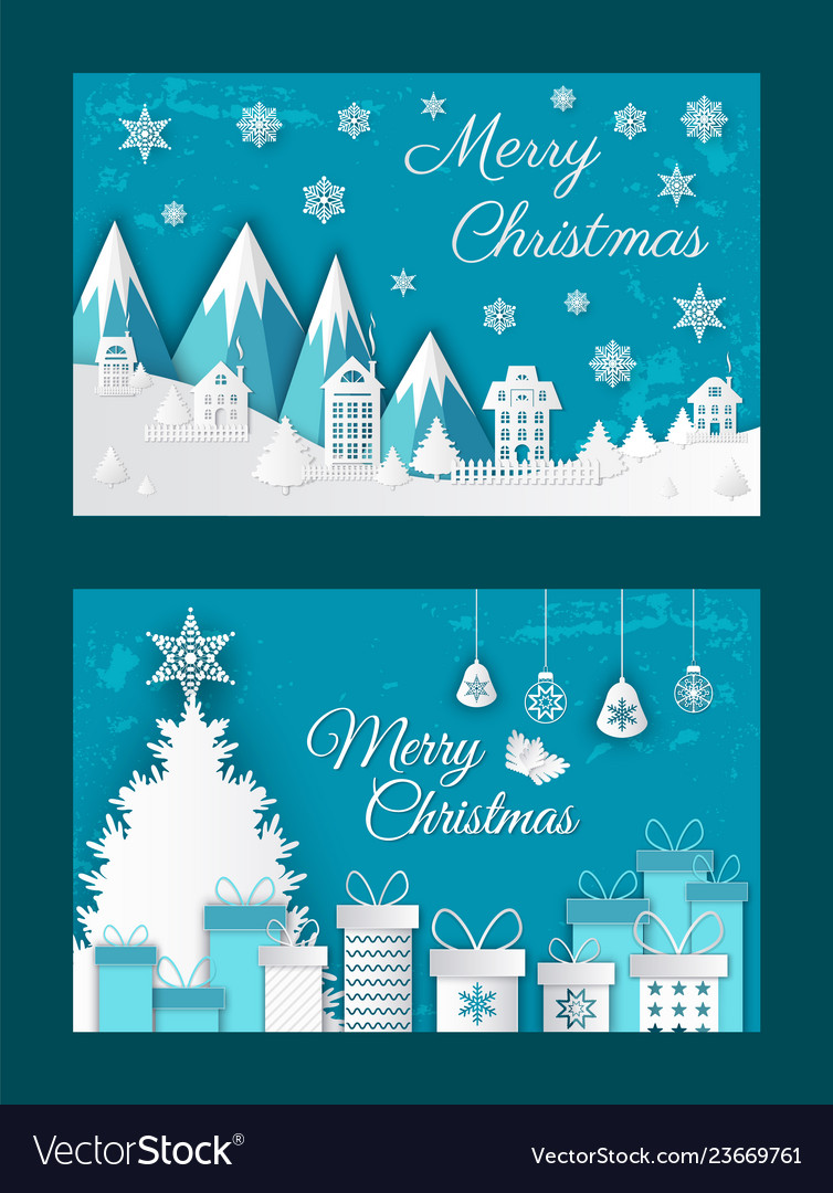 Merry christmas paper cut greeting card with snow