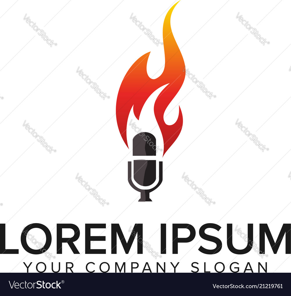 Microphone fire logo design concept template vector image