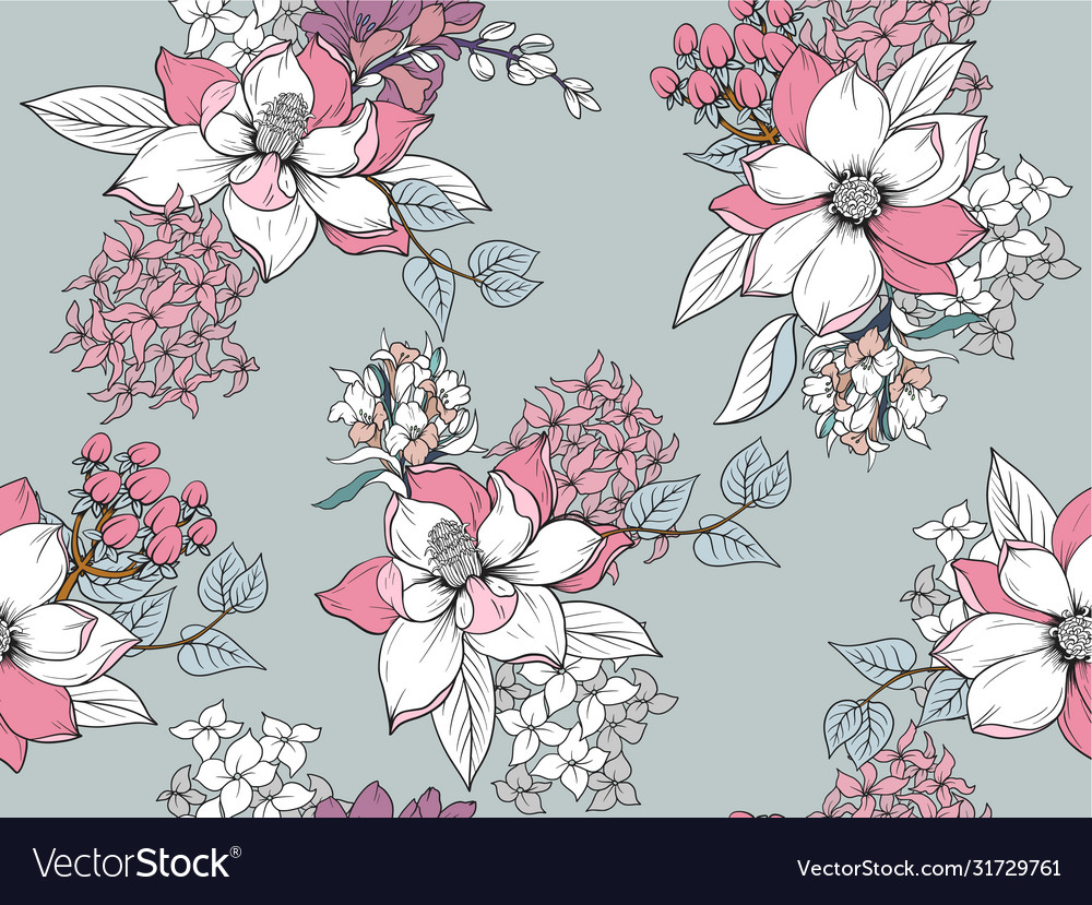 Seamless pattern with graphic flowers for textile