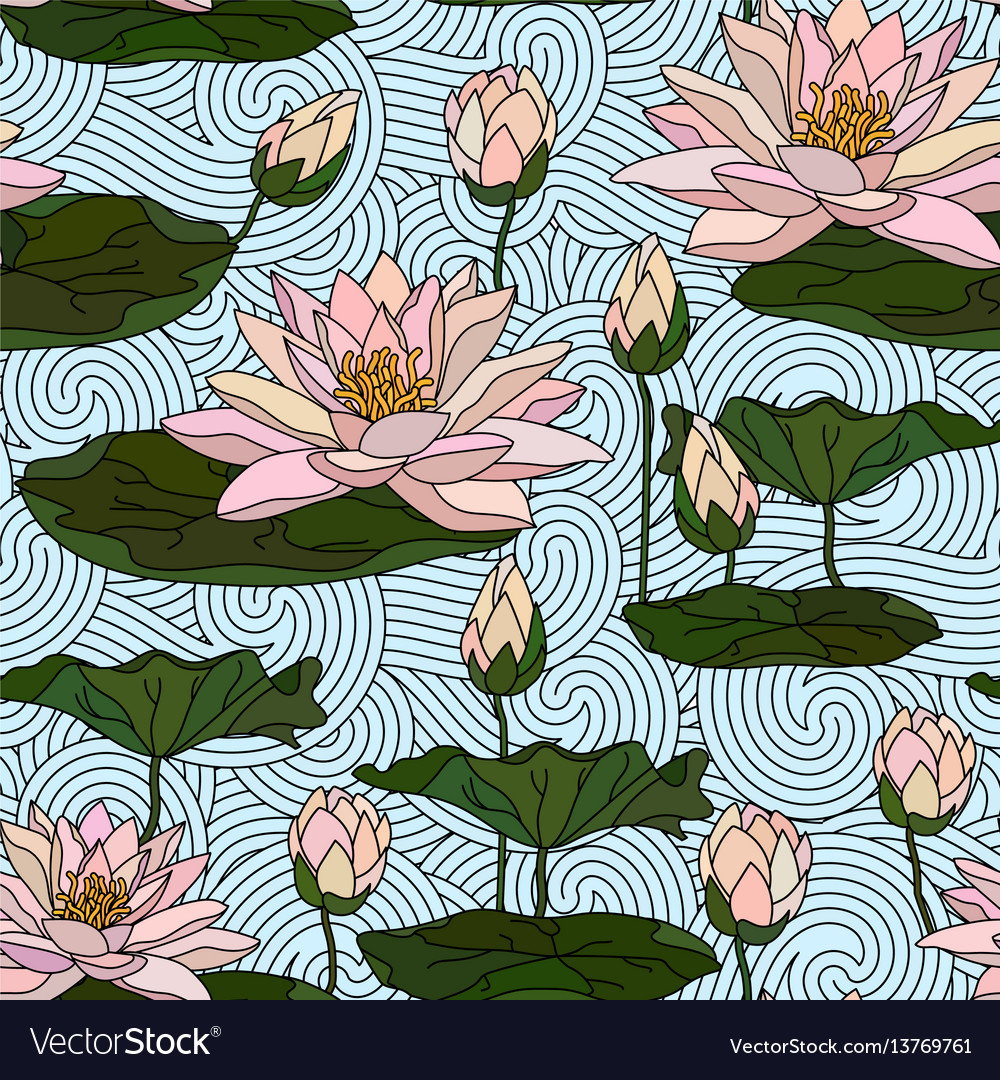 Seamless pattern with water lily vector image
