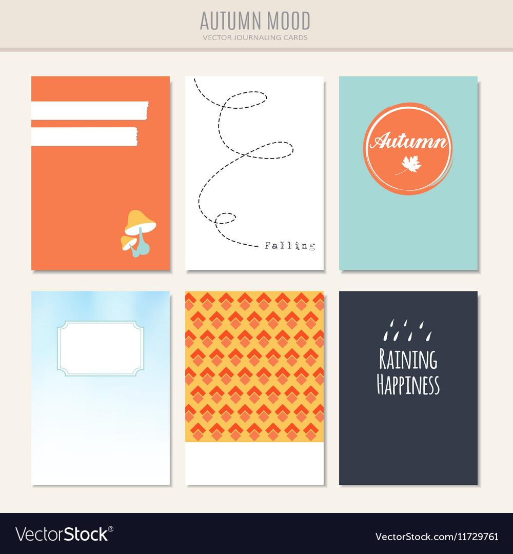 Set of autumn fall greeting journaling cards
