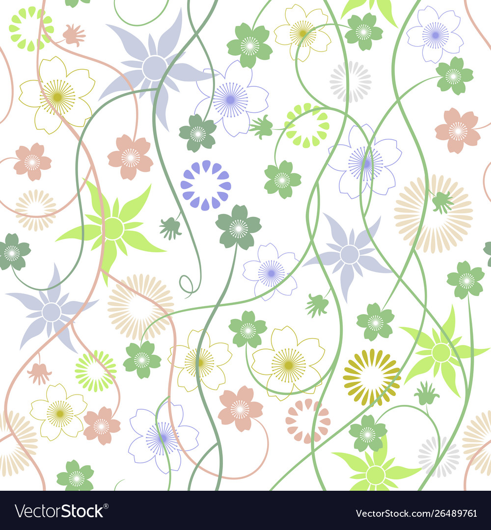 Spring garden abstract flowers - seamless pattern