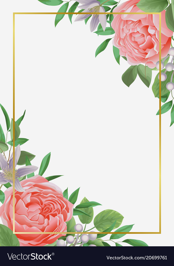 template with flowers and greenery royalty free vector image