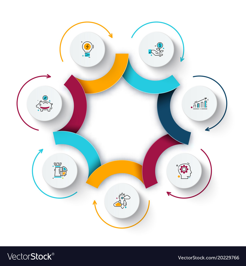 Abstract Element Of Cycle Diagram With 7 Steps Vector Image