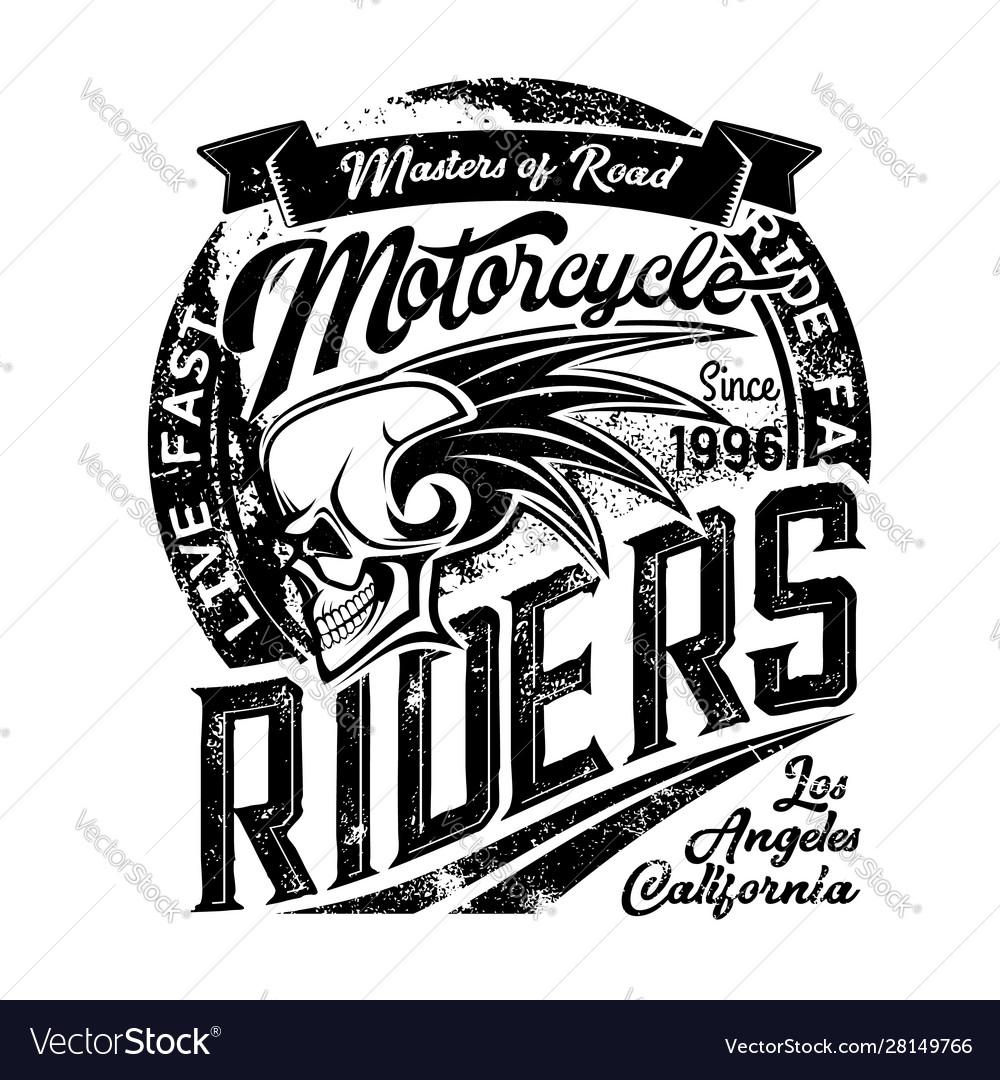 Biker riders club badge skeleton skull wings