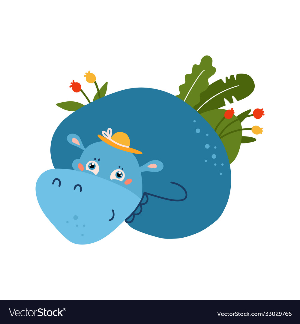 Blue funny hippo animal with summer palm tropical