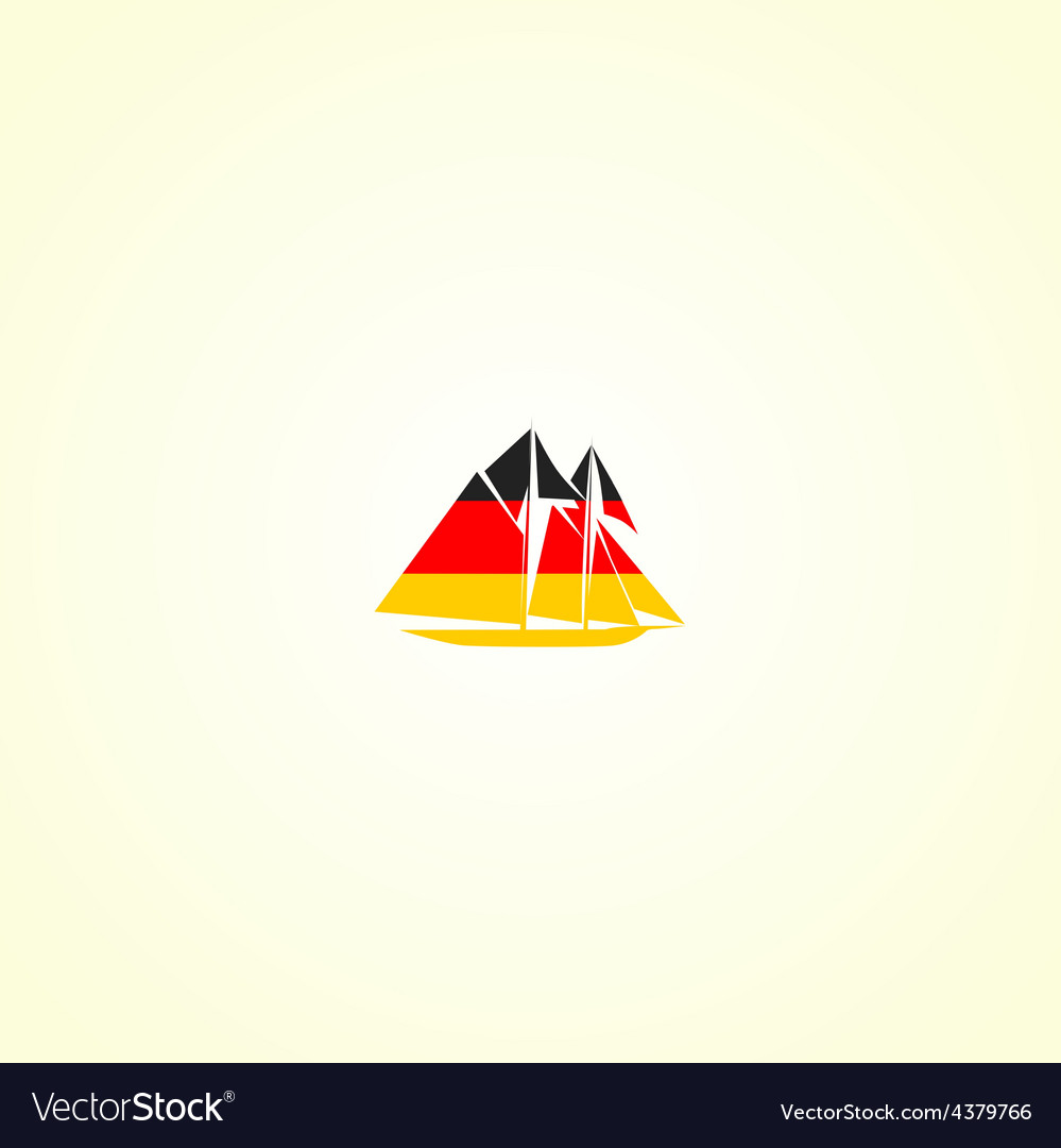 Clippers silhouette in colour of german flag