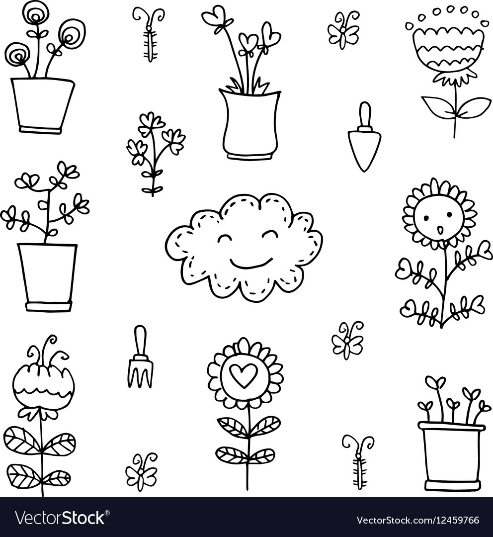 Doodle of flower set item vector image