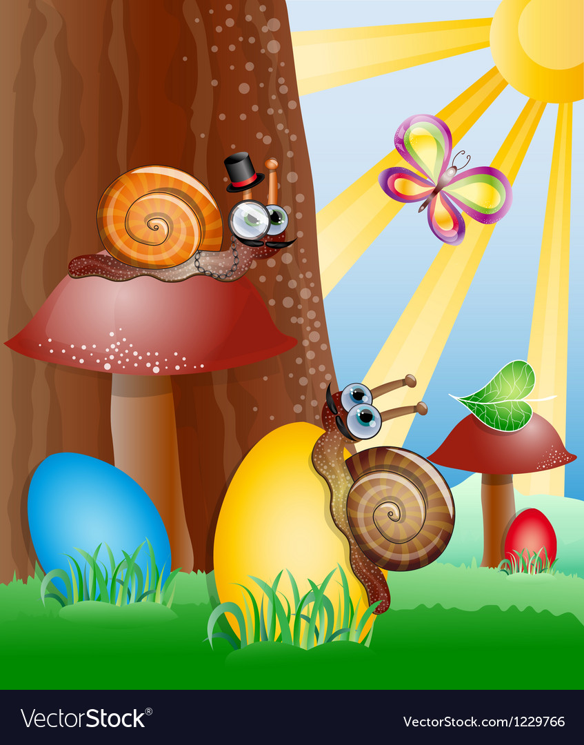 Easter picture with snails vector image