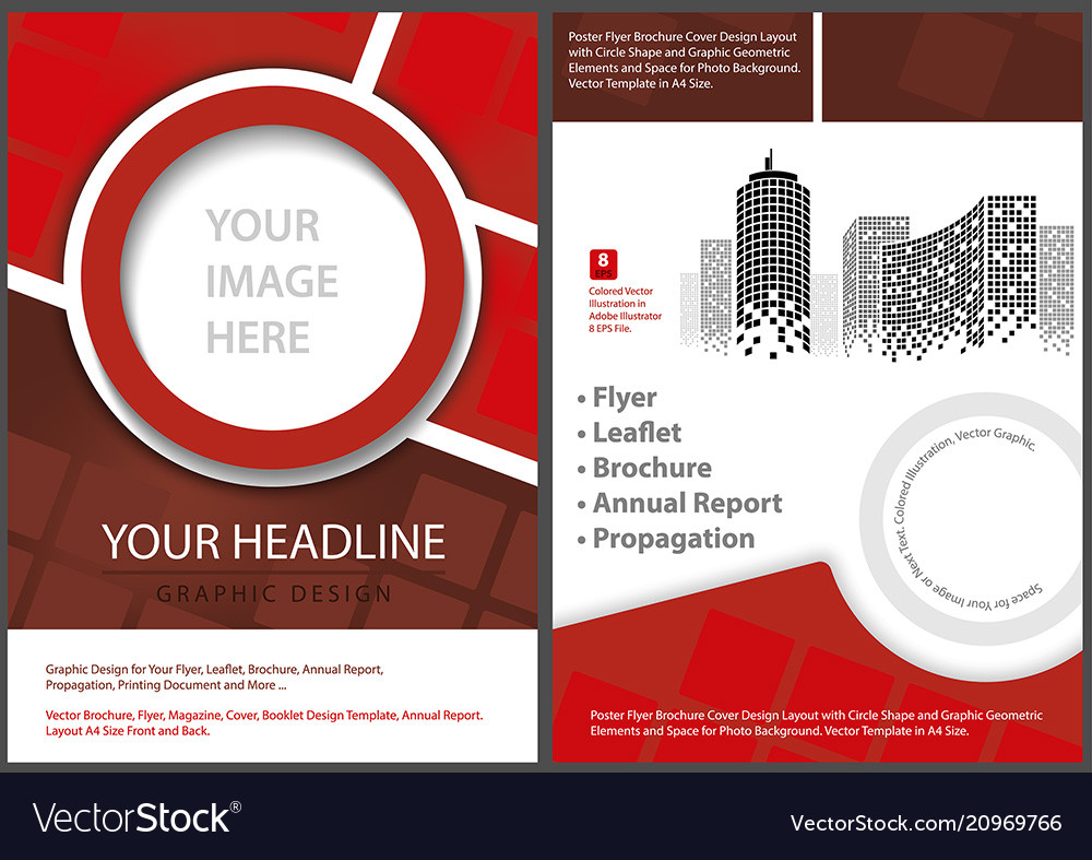 Flyer Template Front And Back In Red Tones Vector Image