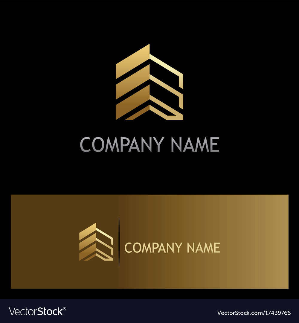 Golden Building Construction Business Logo Vector Image