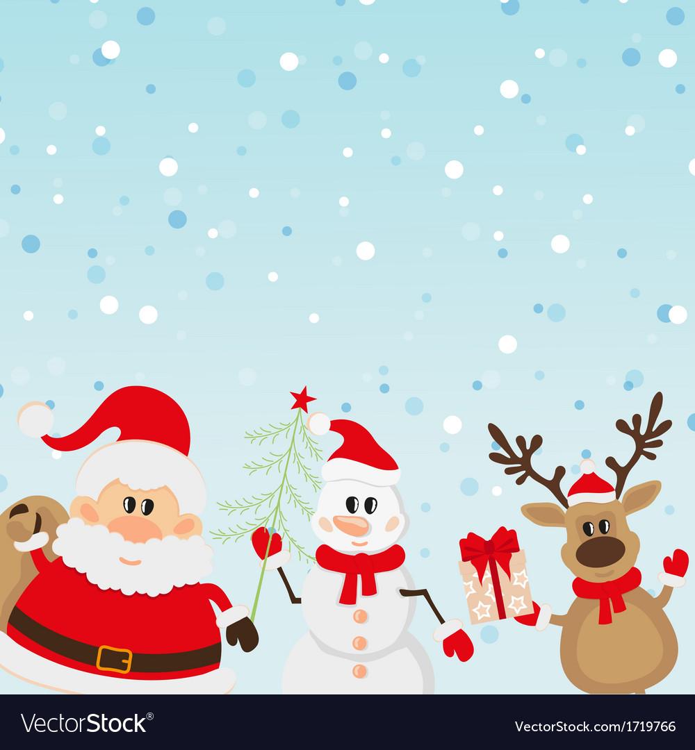 Santa Claus Reindeer Snowman With Christmas Tree Vector Image