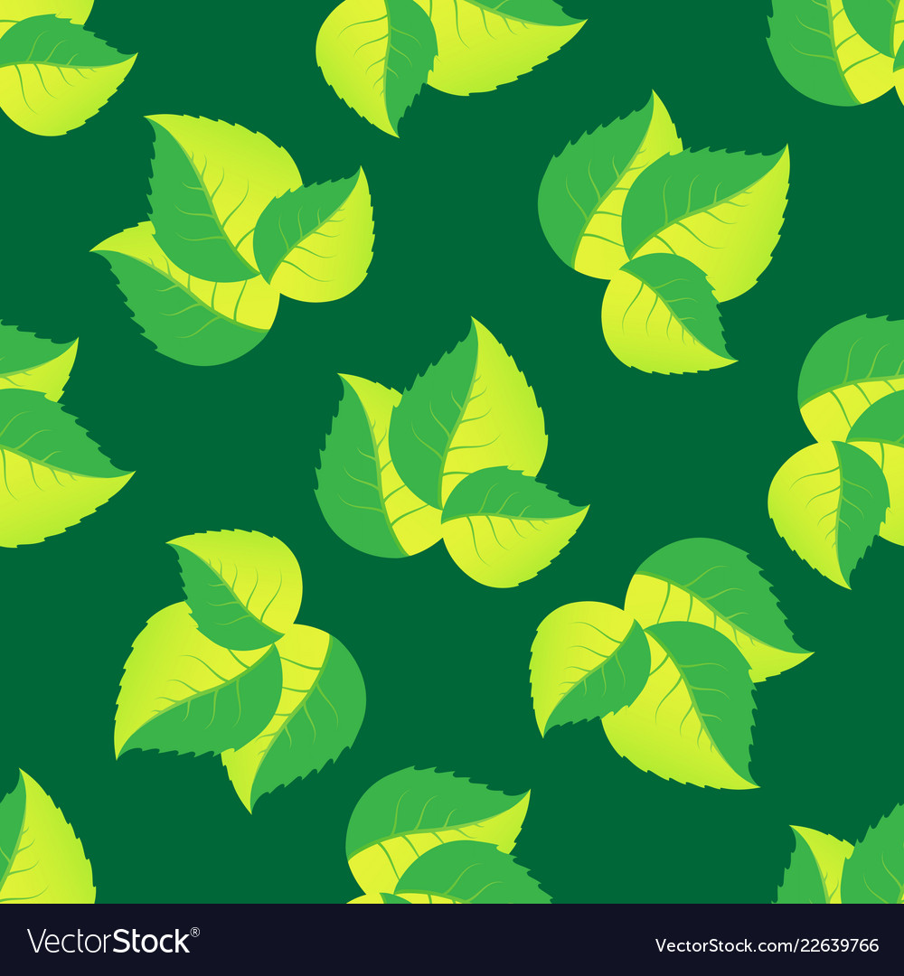 Seamless pattern of leaves arranged randomly on