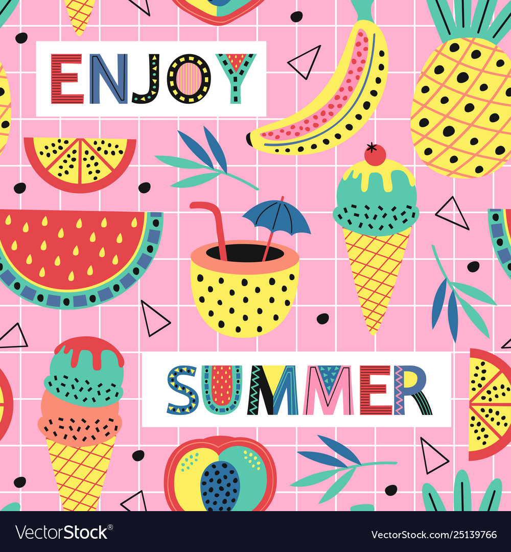Seamless pattern with summer fruit and ice cream