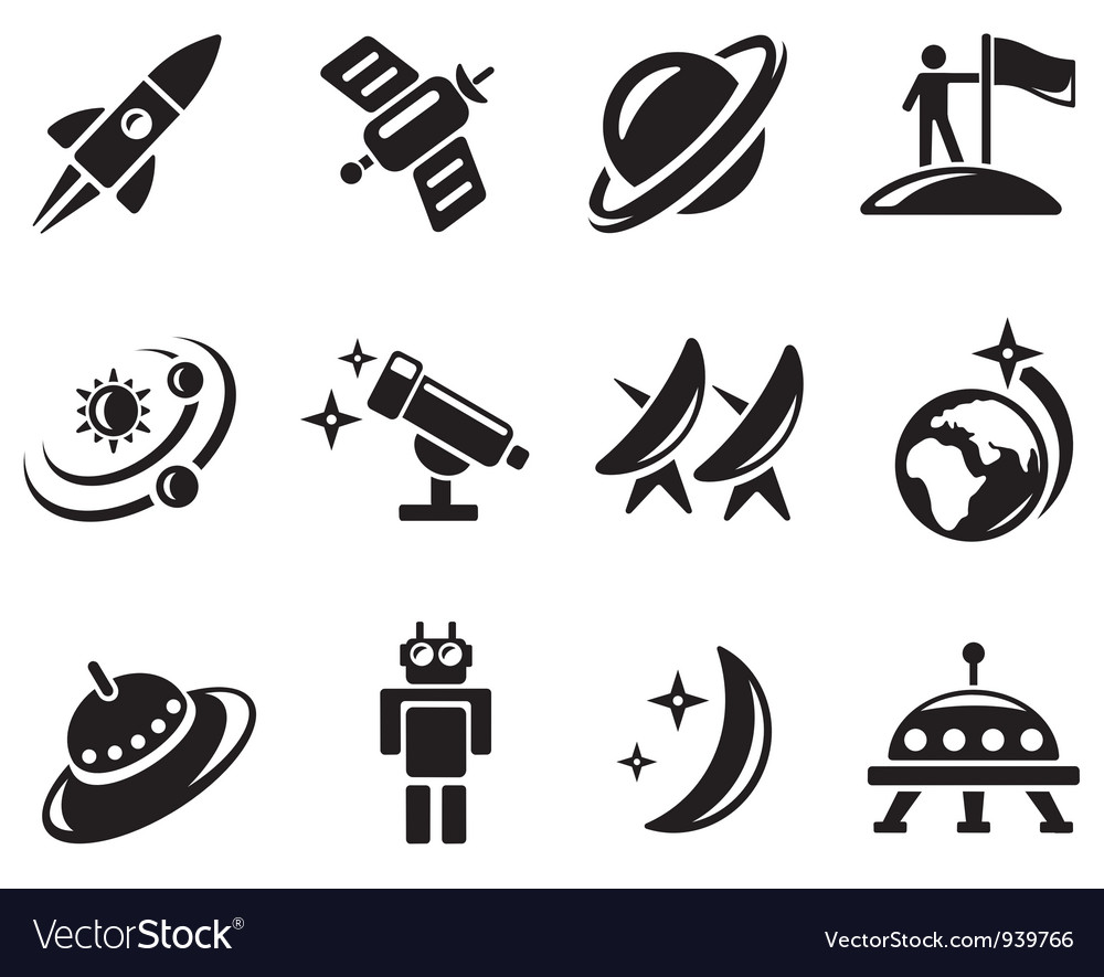 Space icons vector image