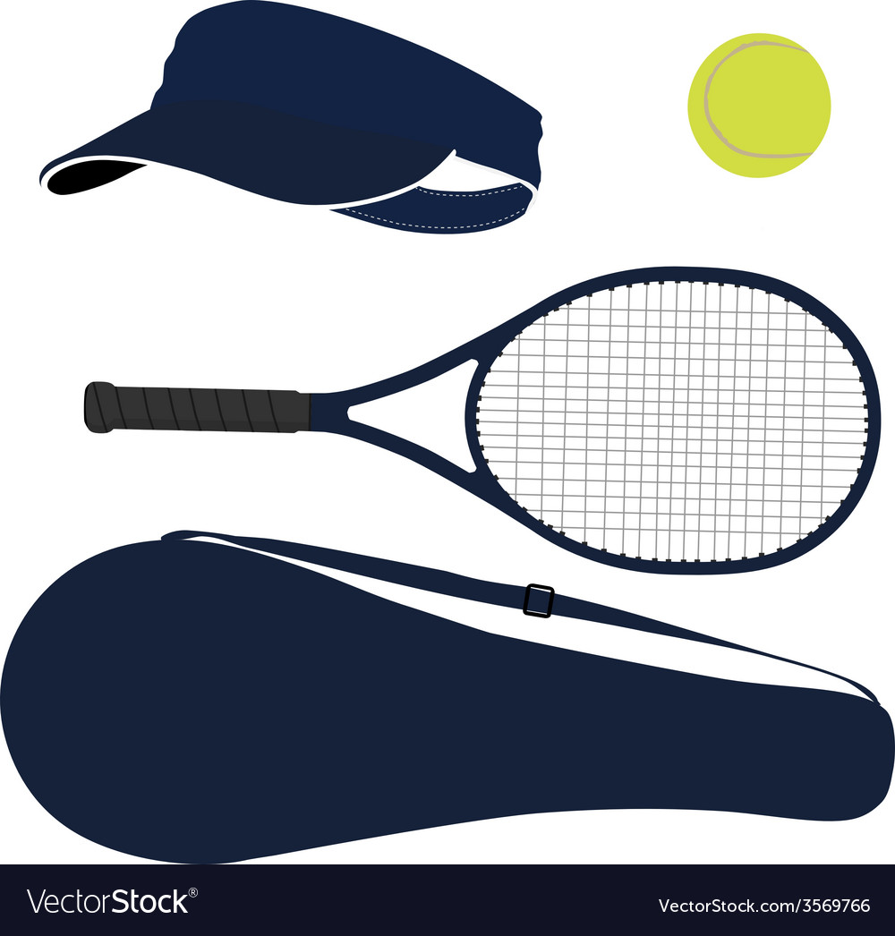 Tennis equipment blue set vector image