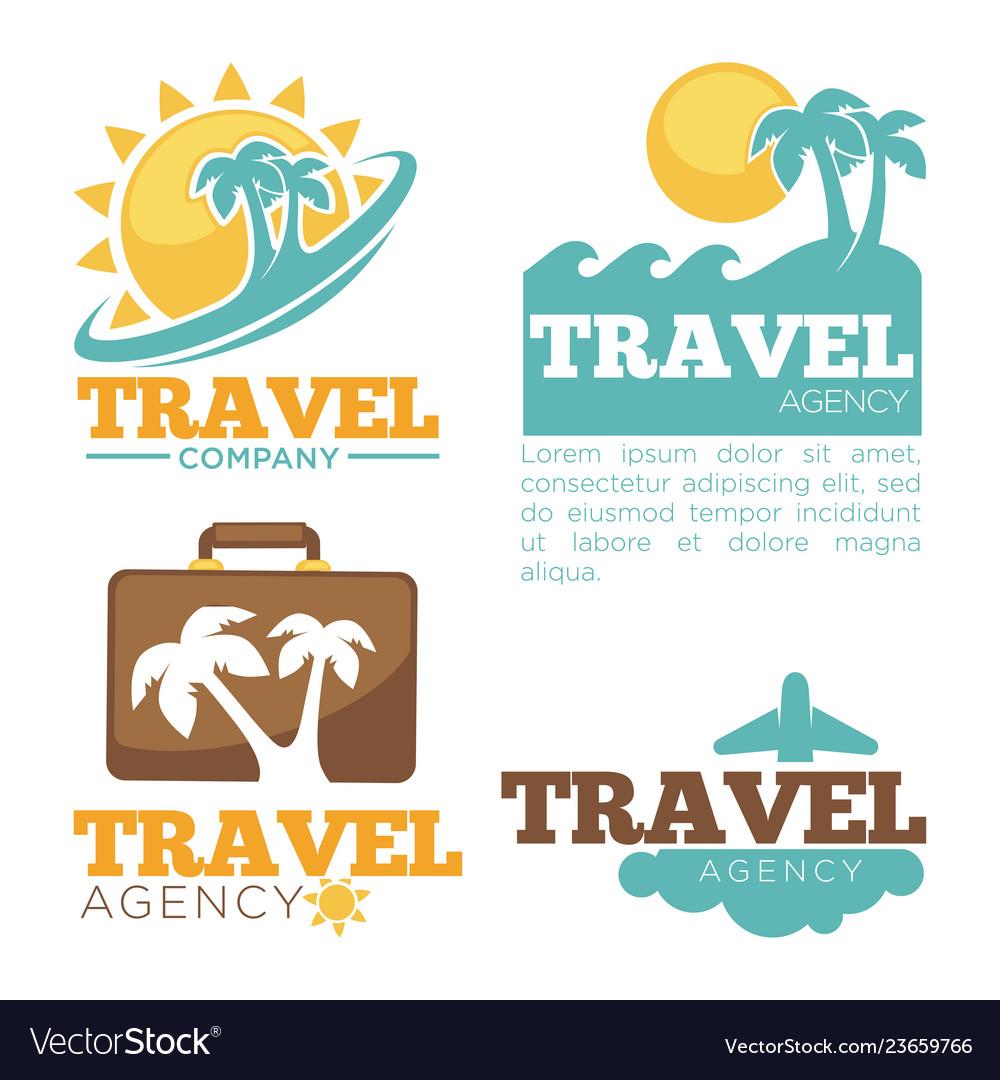 Travel agency logo templates set isolated