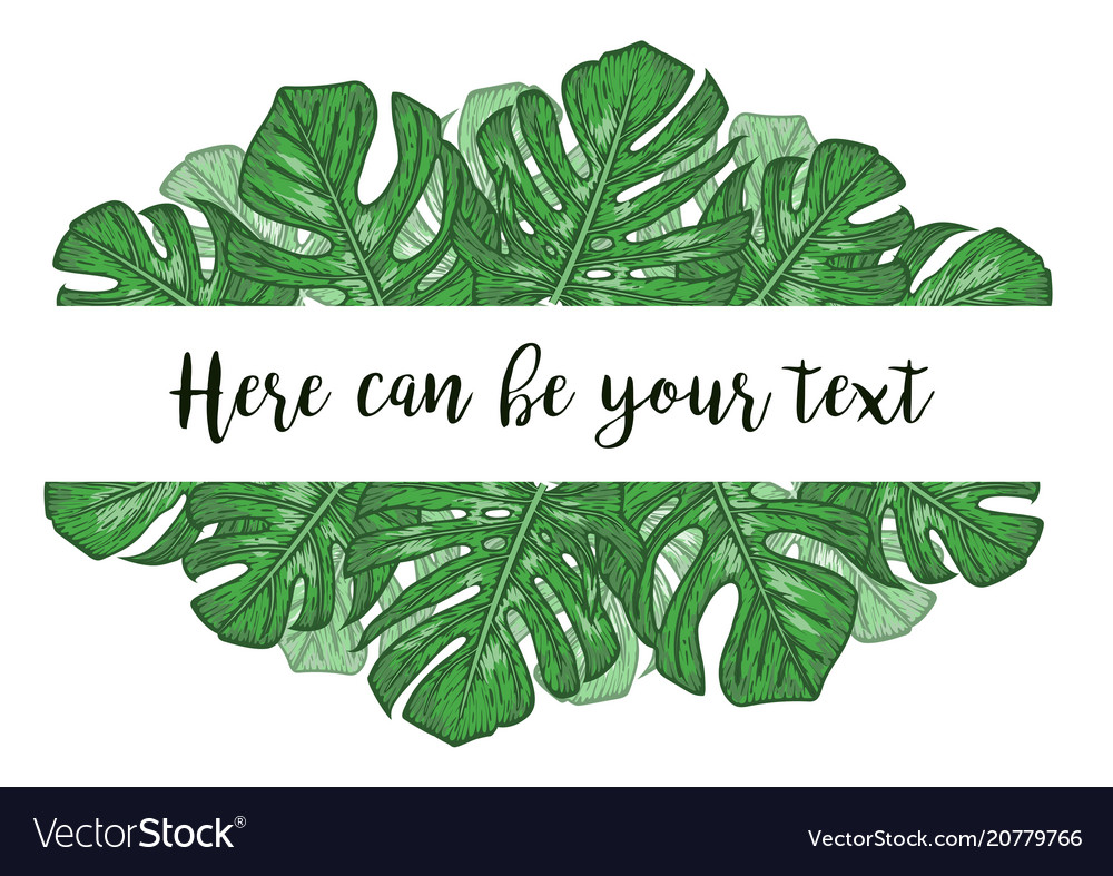 Watercolor with tropical monstera leaves exotic