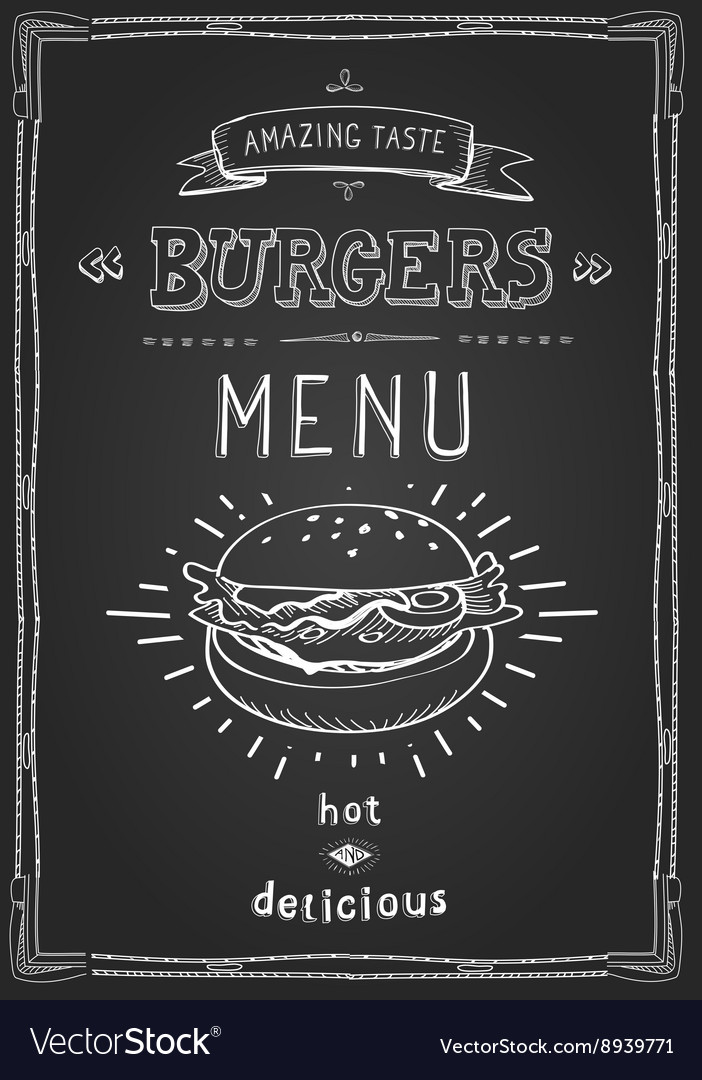 Burger poster menu sketch drawing on the