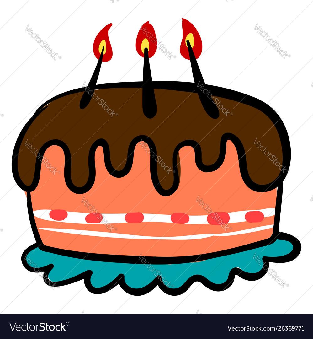 Chocolate birthday cake on white background