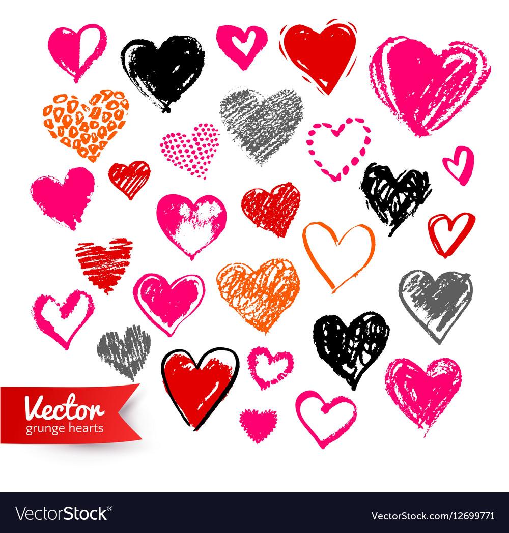 Collection of grunge Valentine hearts