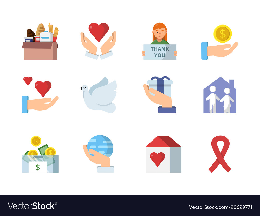 Colored symbols of charities