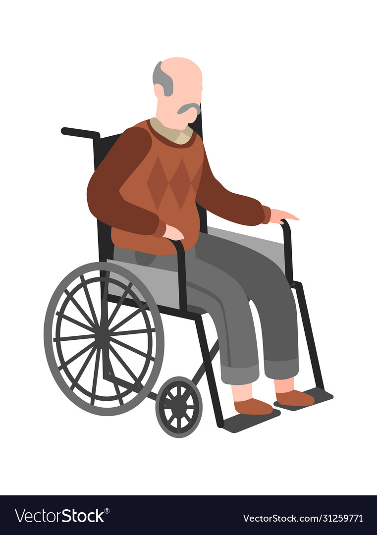 Disabled elderly man on wheelchair old adult