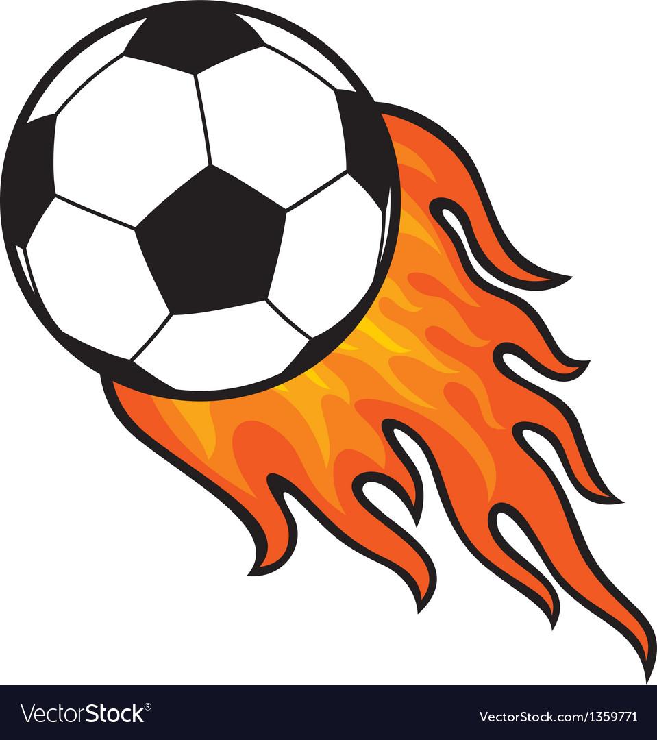 Football ball - soccer in fire