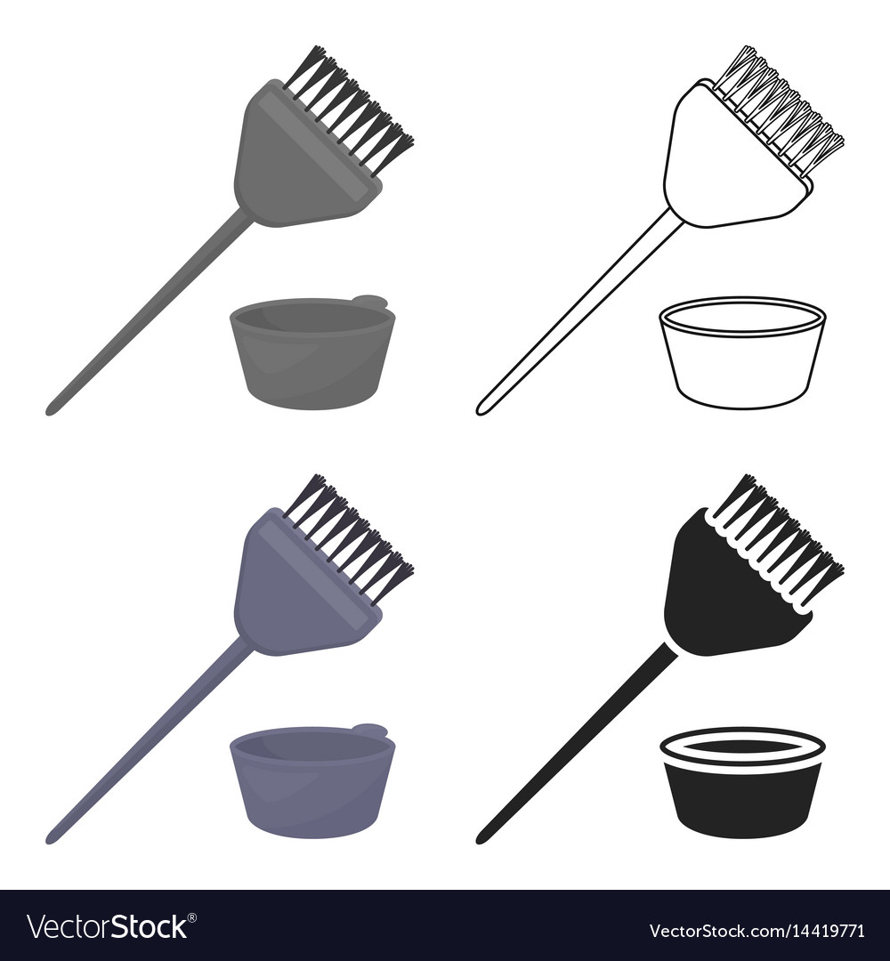Hair coloring brush icon in cartoon style isolated