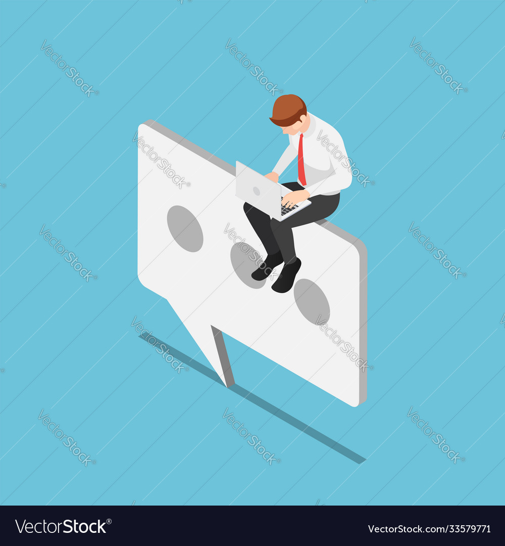 Isometric businessman sitting on chat or text icon