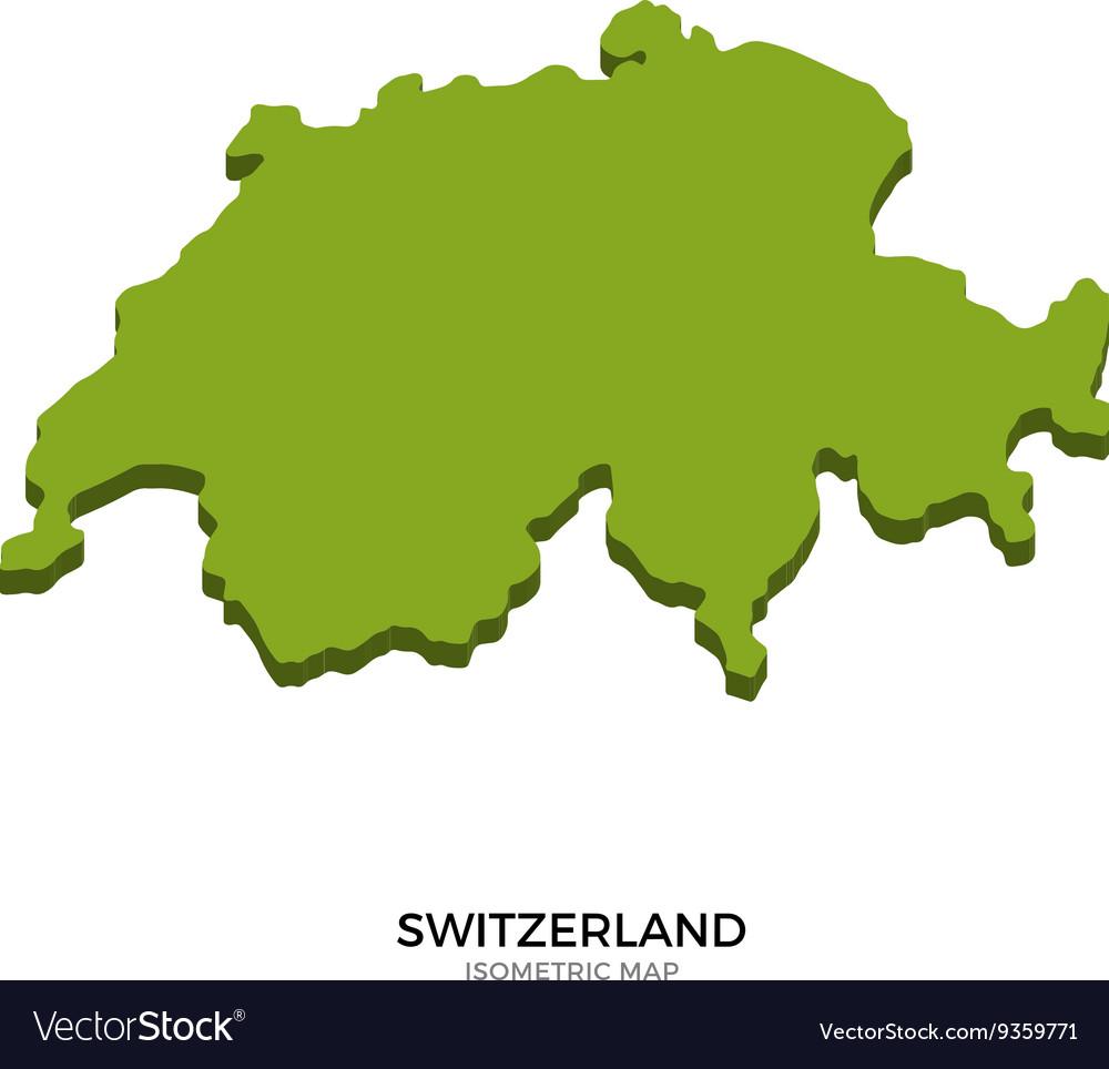 Isometric map of Switzerland detailed
