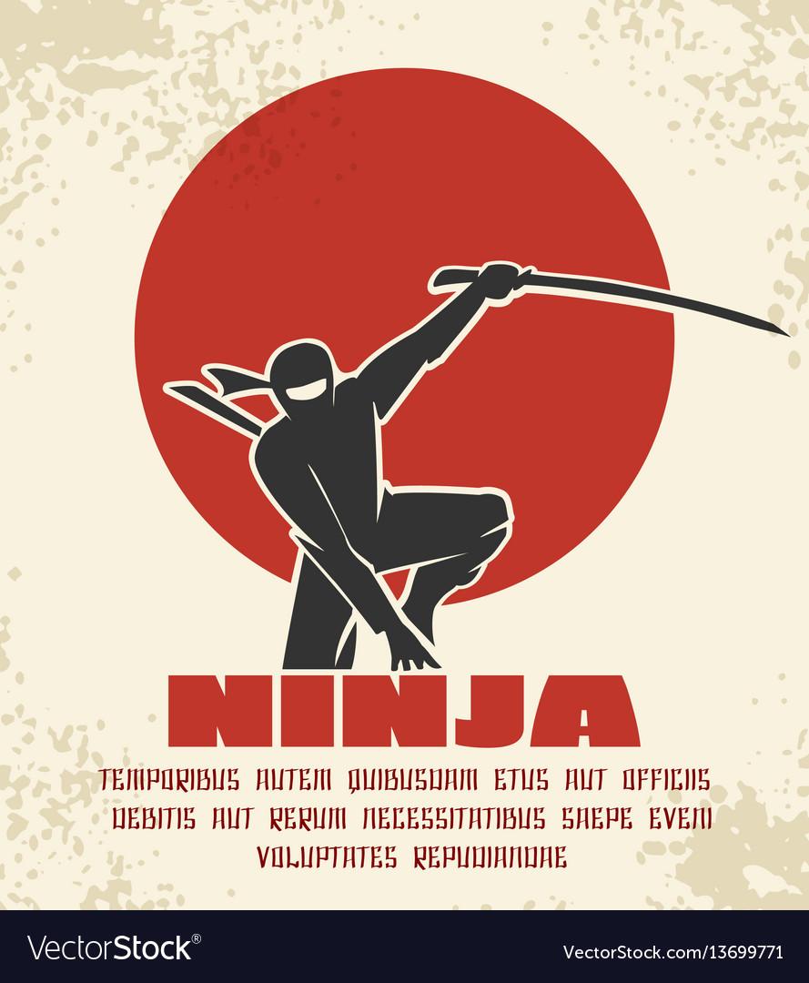 Ninja retro poster black