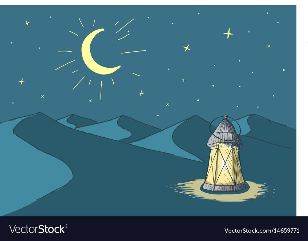 Ramadanluminous lantern in desert