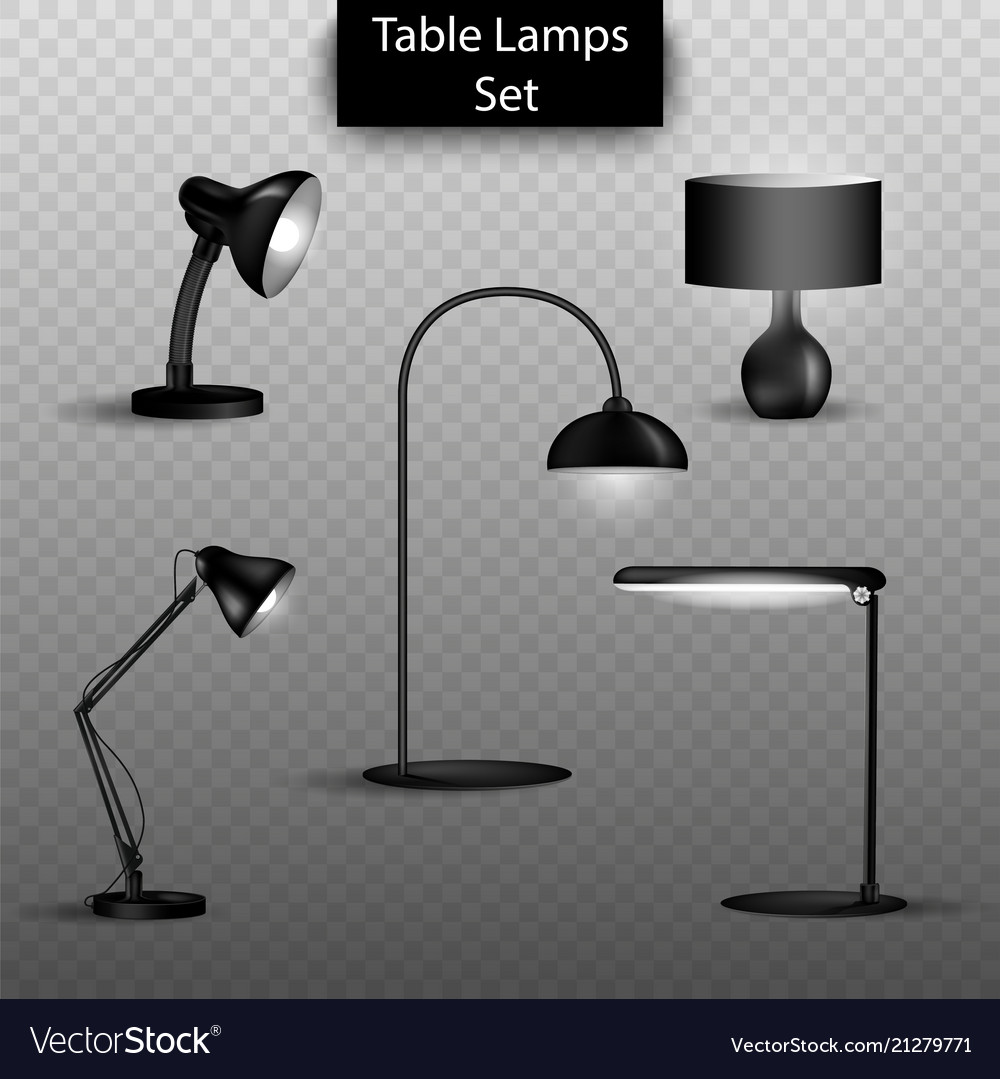 Set of 3d isolated table lamps on