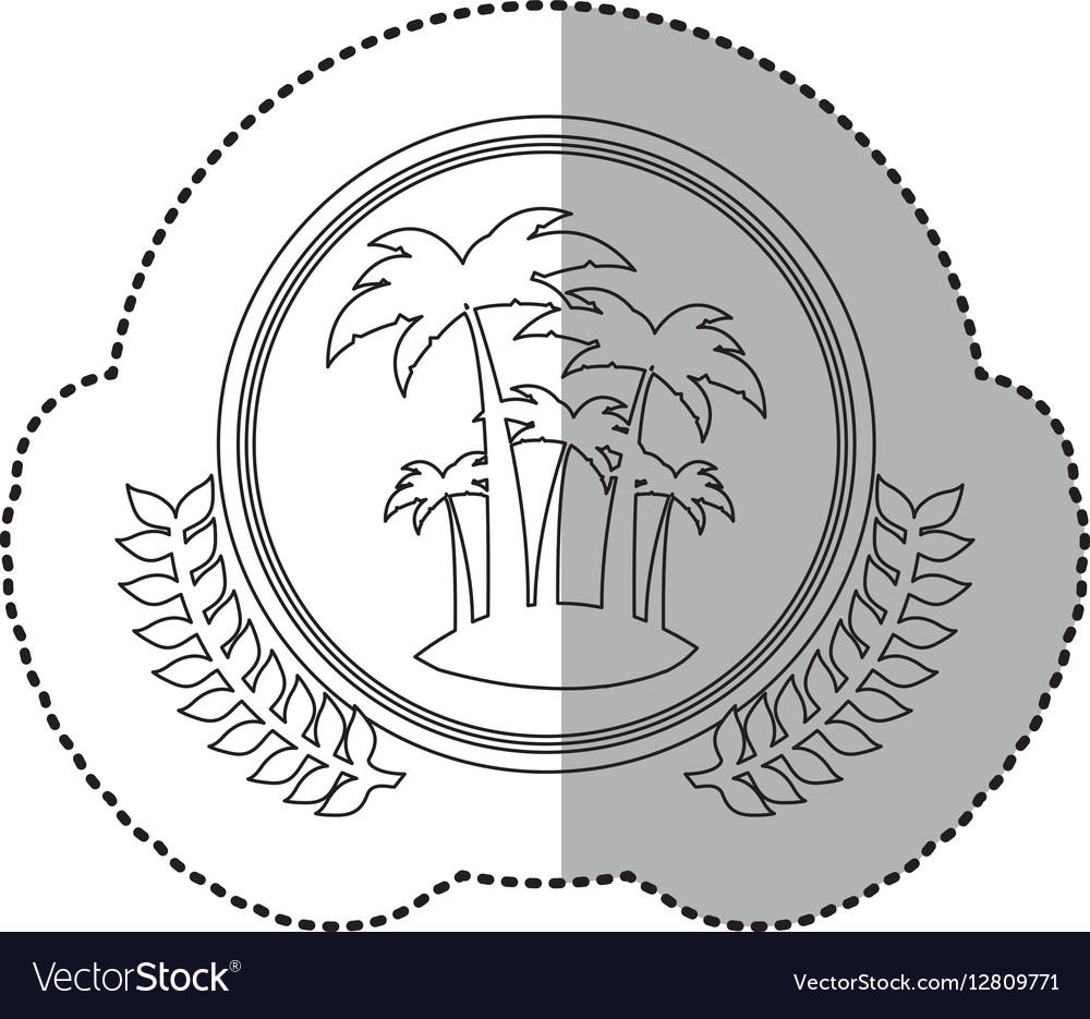 Sticker monochrome with half shadow and Island and vector image