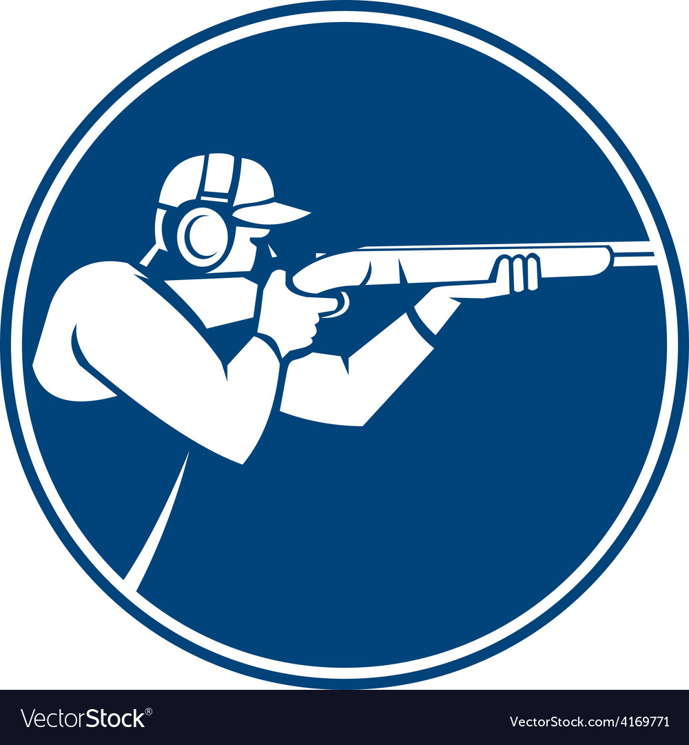 Trap Shooting Shotgun Circle Icon vector image