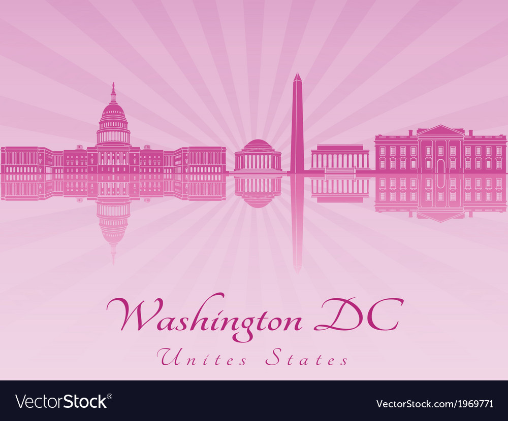 Washington DC skyline in purple radiant orchid vector image