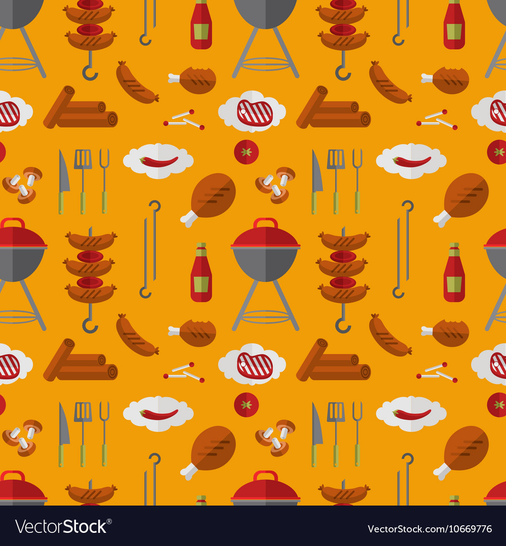 Barbecue grill seamless pattern in flat style